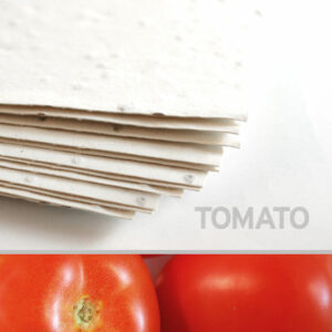 Each handmade sheet of 11 x 17 White Tomato Plantable Seed Paper is infused with NON-GMO seeds.