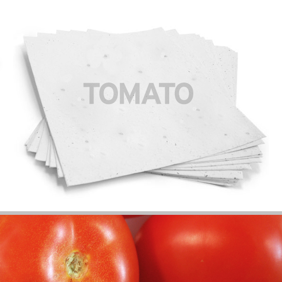 This 8.5 x 11 White Tomato Plantable Seed Paper is handmade and eco-friendly.