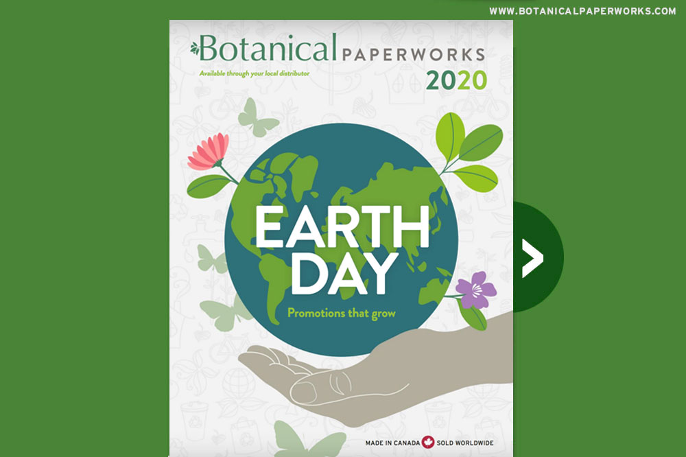 Cover of e-booklet featuring plantable promotions for Earth Day.