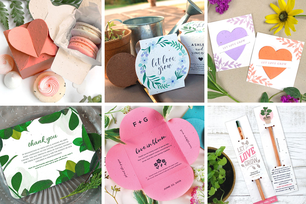 A collection of Plantable Wedding Favours Made in Canada