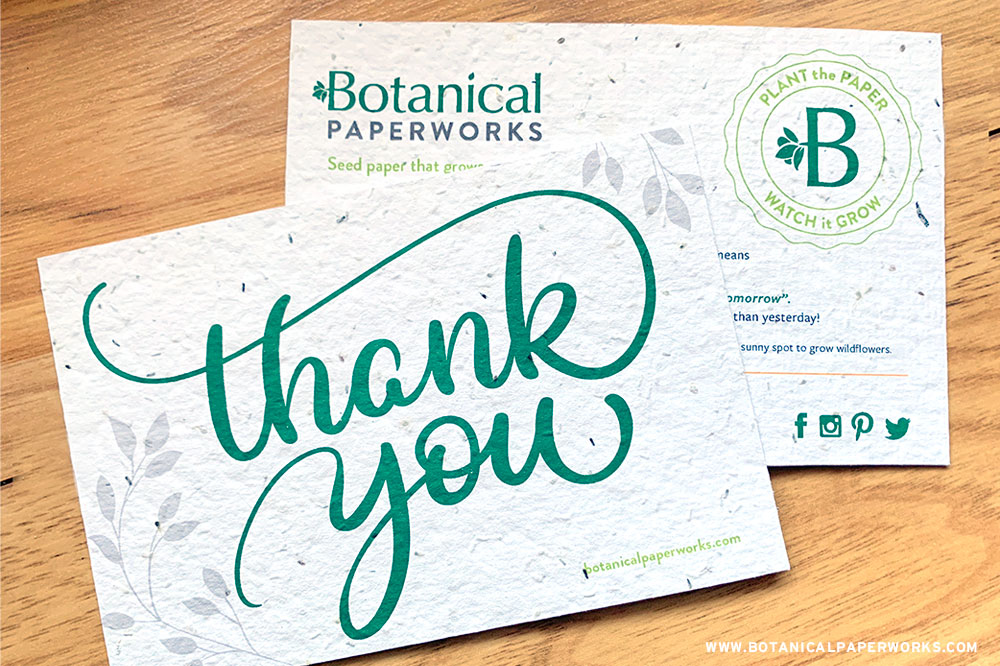 seed paper thank you card from Botanical PaperWorks