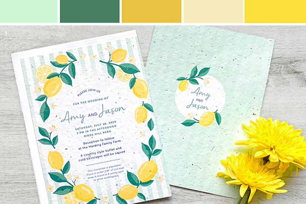 A trendy lemon and mint palette for your summer wedding