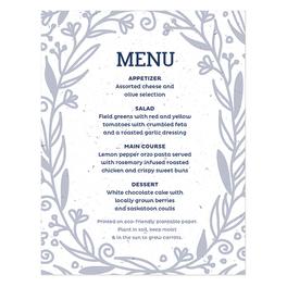 plantable menu cards that grow flowers