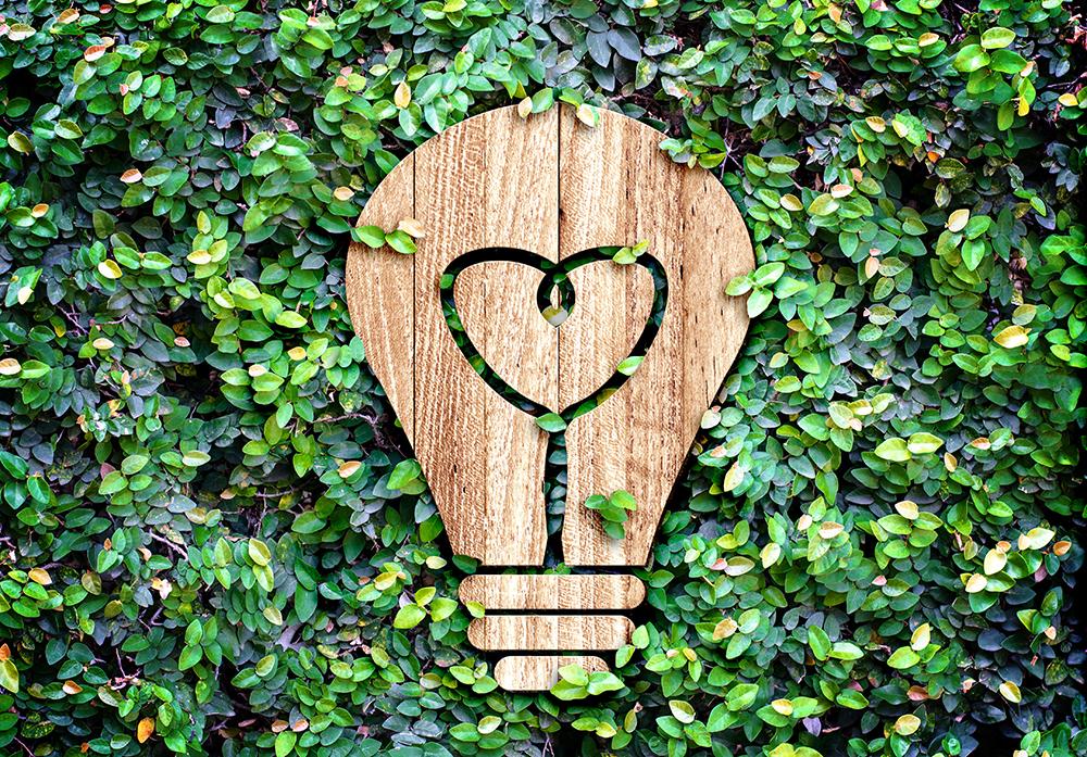 wood lightbulb carving in trees