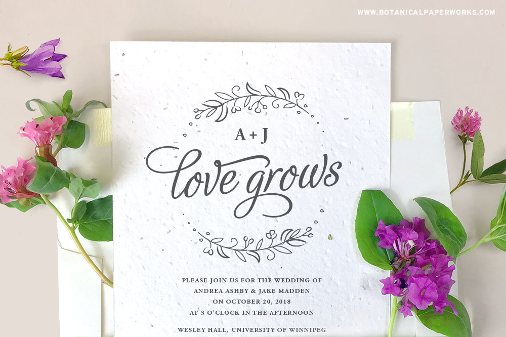 seed paper wedding invite