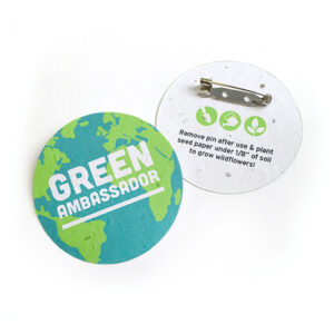 Promote a cause or message in a green way with these eco-friendly button badges that also give the gift of wildflowers!