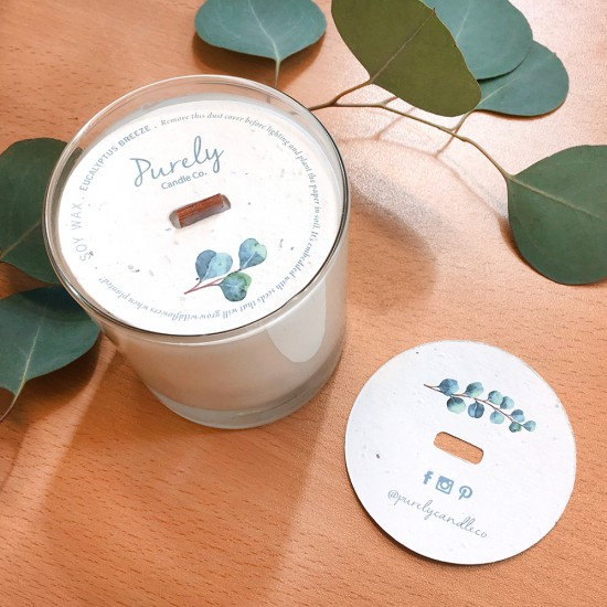 This special packaging addition for eco-friendly candles will give the recipients a bonus gift to plant, making the candle feel more special and gift worthy.
