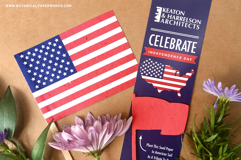 4th of july promotional seed paper bookmark and flag