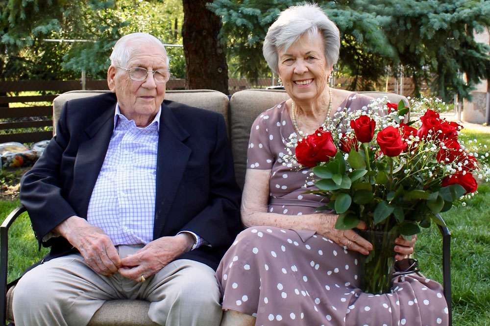 husband and wife celebrating 70th anniversary