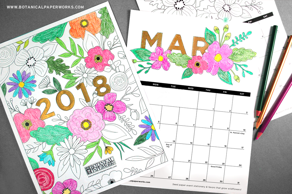 Free Printables} Adult Coloring Book Calendar Botanical PaperWorks