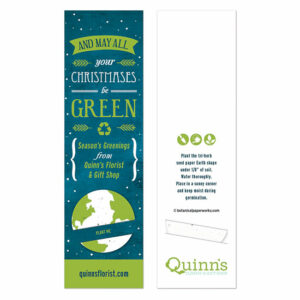 Wish clients and colleagues a GREEN Christmas in a unique way with these All Your Christmases Holiday Bookmarks with Slot that feature a tri-herb seed paper Earth shape.