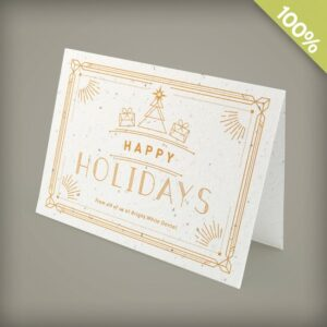 Send a stylish greeting that represents your business in an eco-friendly way with these plantable paper business holiday cards.