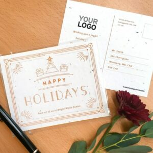 Send elegant and eco-friendly holiday wishes with these plantable holiday postcards that are embedded with seeds and give the gift of wildflowers.