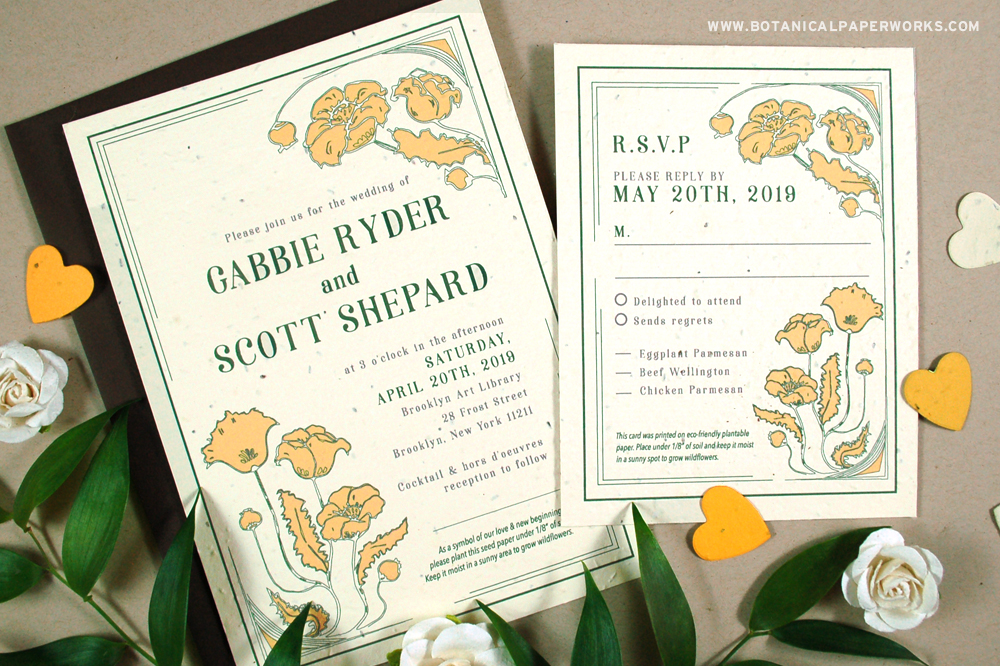 art nouveau seed paper plantable wedding invitations and RSVP