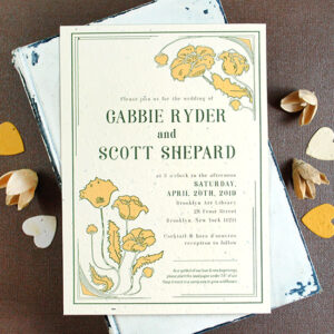 Not only are these Art Nouveau Plantable Wedding Invitations elegant and intricate, but they're printed on handmade paper embedded with seeds that grow when planted in soil.