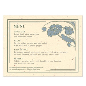 Add a delightful, vintage detail to your place settings and give your guests a wedding favor with these Art Nouveau Plantable Menu Cards that grow carrots.