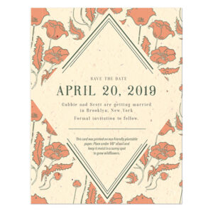Share your wedding date in a unique way that reflects your eclectic tastes with these eco-friendly Art Nouveau Plantable Save The Date Cards.