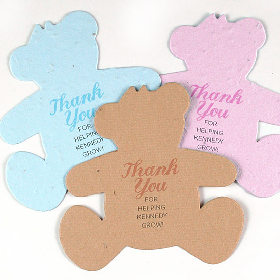 Recipients can take these Plantable Teddy Baby Shower Favors home to plant in celebration of the new life without leaving any waste behind!