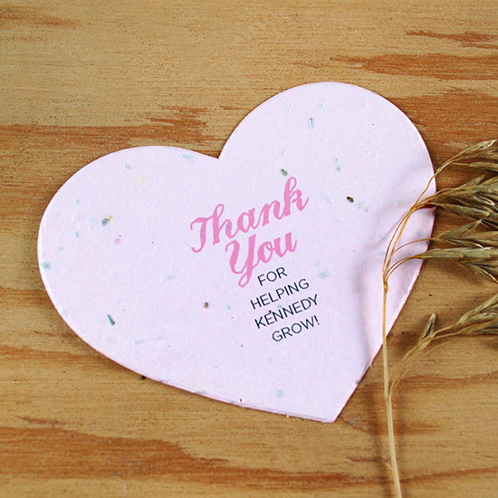 Guests can take these Plantable Heart Baby Shower Favors home to plant and grow wildflowers in celebration of the new life.