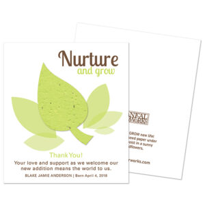 Recipients can plant the leaf on these Nurture & Grow Plantable Baby Shower Favors in celebration and grow colorful wildflowers!