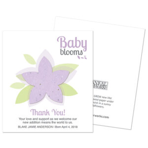 These pretty Modern Baby Blooms Plantable Baby Shower Favors are a lovely way to thank friends and family for their support at a baby shower or to send in the mail as a birth announcement or a thank you