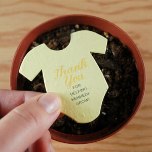 Share these adorable eco-friendly Plantable Onesie Baby Shower Favors to celebrate a new little one.