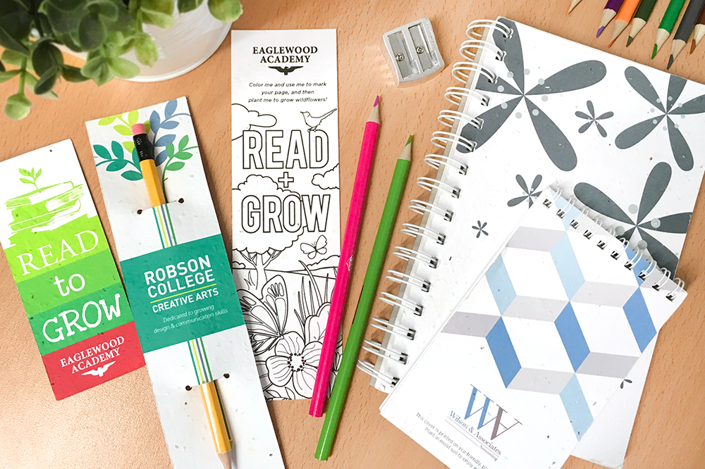 Encourage them to grow & be green with plantable giveaways made with seed paper!