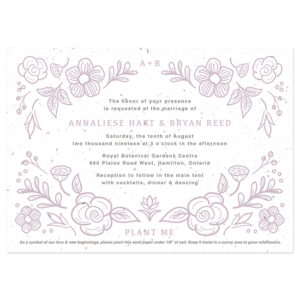These Botanical Beauty Seed Paper Wedding Invitations have a natural elegance that is perfect for eco-friendly weddings.