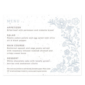 These pretty Botanical Beauty Seed Paper Menu Cards share your menu in a stylish and eco-friendly way that also gives your guests a gift to take home.