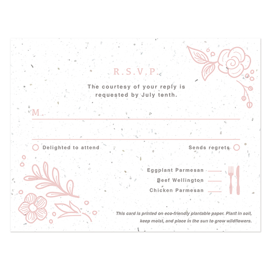 You'll get to grow a garden of real wildflowers from your Botanical Beauty Seed Paper Reply Cards.