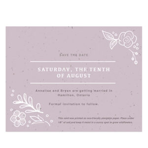 These Botanical Beauty Seed Paper Save The Date Cards are embedded with NON-GMO seeds that grow when planted in soil as a colorful memento of the occasion.