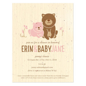 These Baby Bear Seed Paper Shower Invitations are biodegradable and are embedded with a blend of wildflower seeds so they don't leave any waste behind.
