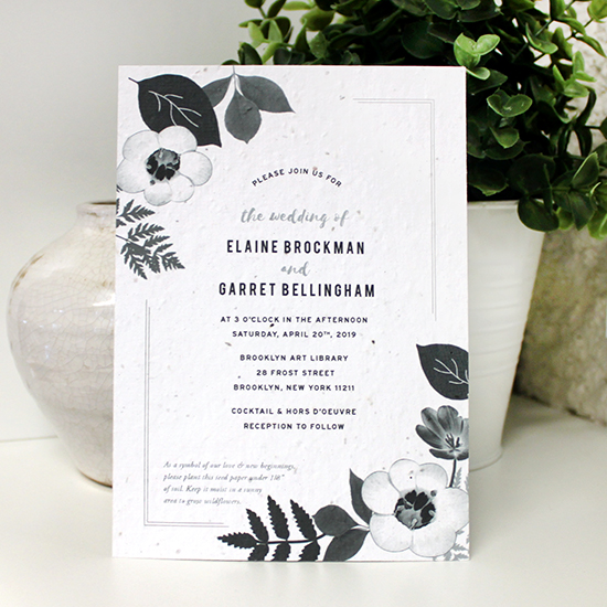 Not only does the artful design on these Black & White Blooms Plantable Wedding Invitations feature wildflowers and organic elements, but it will also grow real flowers!