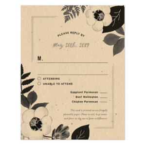 These elegant Black & White Blooms Plantable Reply Cards feature a tasteful botanical design printed on seed paper and grow wildflowers when planted.