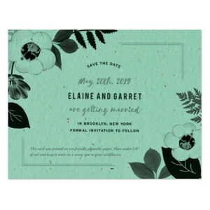 Each of these Black & White Blooms Plantable Save The Date Cards is embedded with seeds so that they can be planted after.