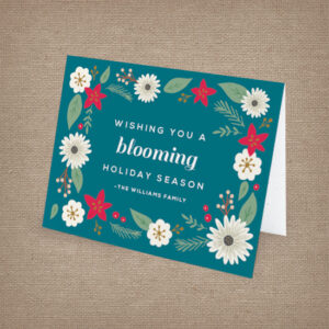 Floral and festive personalized seed paper holiday cards
