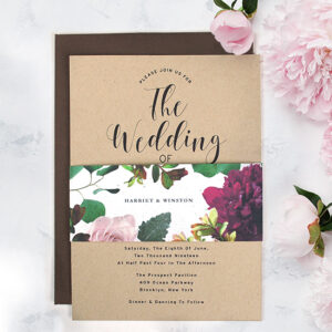 These eco-friendly Kraft Paper Wedding Invitations With Seed Paper Band create a natural and elegant look that your friends and family will swoon over.