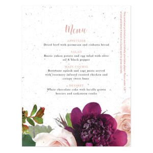 Add a burst of lush flowers to your wedding table place settings with Beautiful Blooms Plantable Menu Cards that will give guests a gift they can take home to plant.