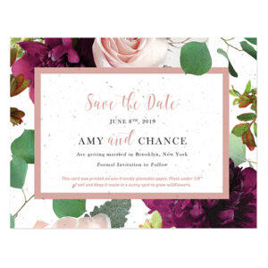 Send your wedding date news in style with these eco-friendly Beautiful Blooms Plantable Save The Date Cards that grow wildflowers when planted!