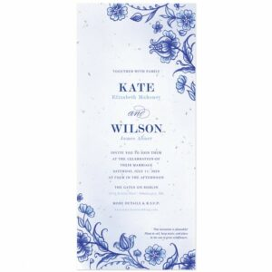 Dutch-style wedding invitations featuring a rich cobalt blue design of detailed ornamental flourishes.