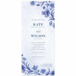 Dutch-style wedding invitations featuring a rich cobalt blue design of detailed ornamental flourishes.