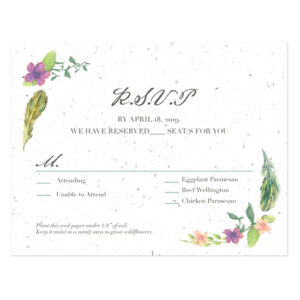 These Boho Feather Seed Paper Reply Cards will collect your replies and grow a garden of flowers instead of leaving waste behind.
