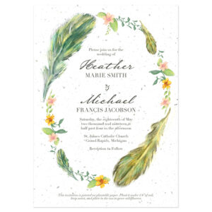 These eco-friendly Boho Feathers Seed Paper Wedding Invitations can be planted in soil to grow wildflowers!