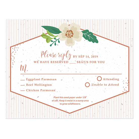 These trendy Embellished Geometric Plantable Reply Cards are a great way to collect your responses and will also grow a garden of wildflowers!