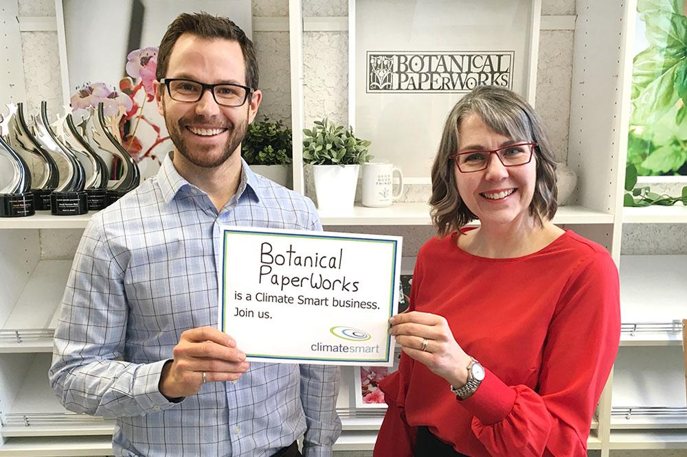 Heidi Reimer-Epp CEO of Botanical PaperWorks holding Climate Smart Certificate