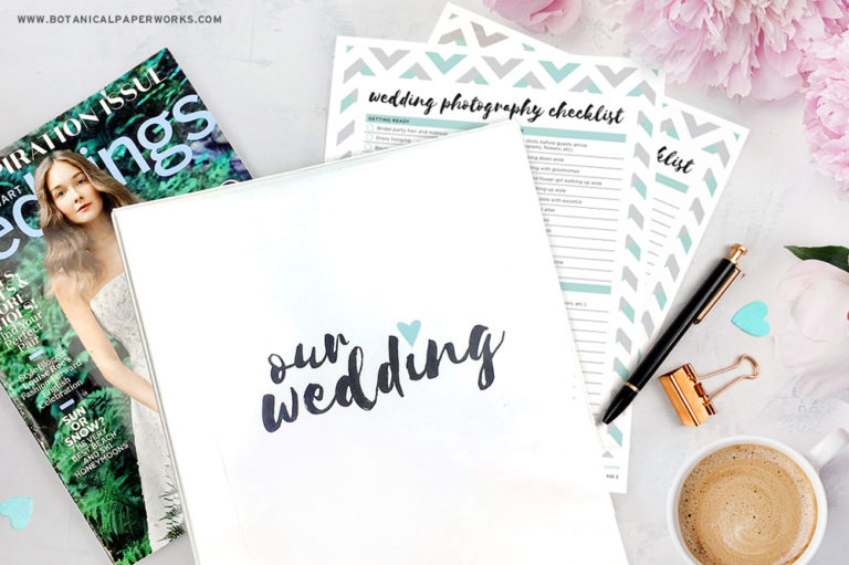 Download this Free Printable Wedding Planning Binder with planning resources & dividers to keep all your wedding details organized.