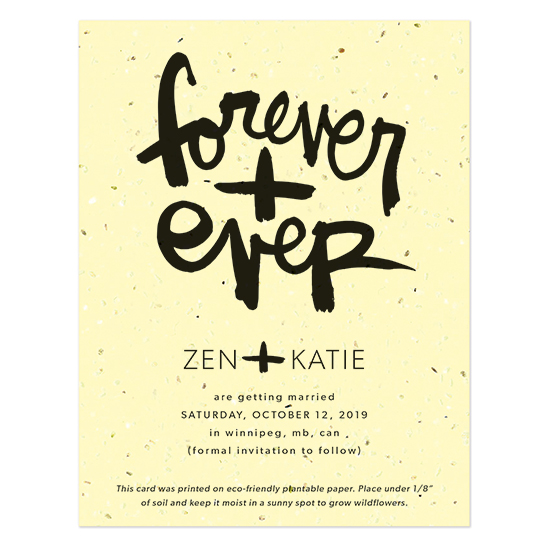 Invite your guests to save the date for your wedding in style with these fun Brush Script Plantable Save The Date Cards that feature brush script artwork by artist Kal Barteski.