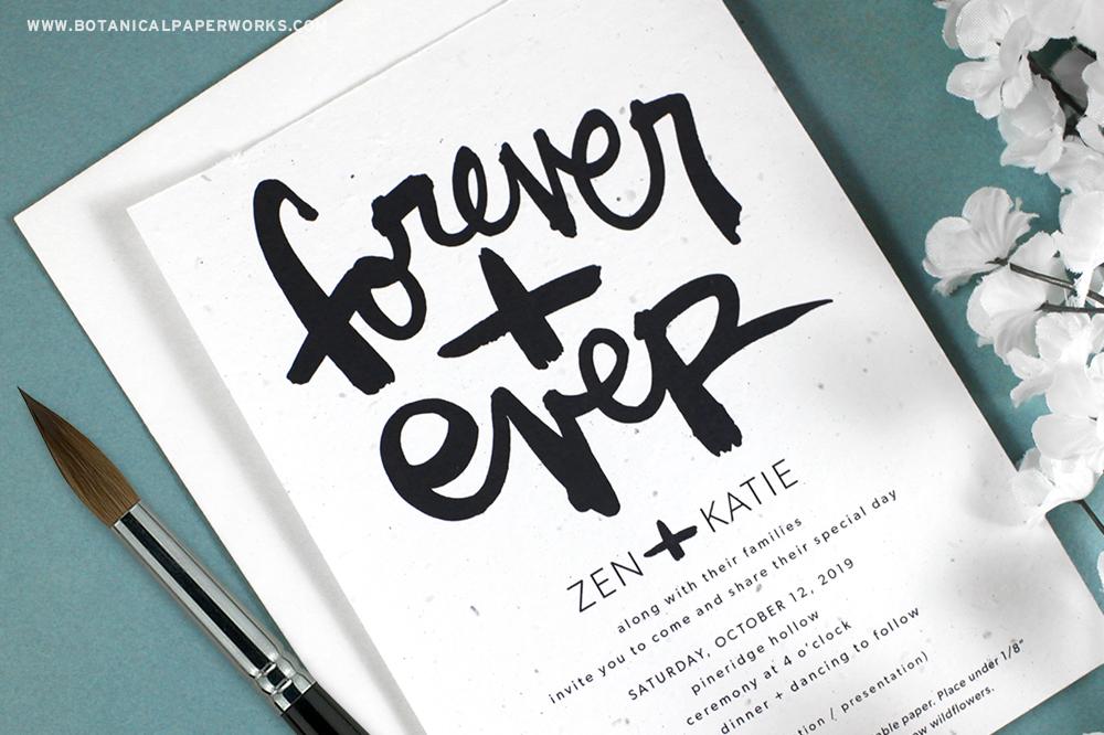 brush script wedding invitations with script from kal barteski