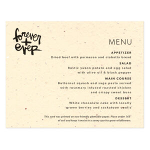 These modern and fun Brush Script Plantable Menu Cards feature bold brush script typography by artist Kal Barteski, and can even double as wedding favors because they are made with seed paper that grows.