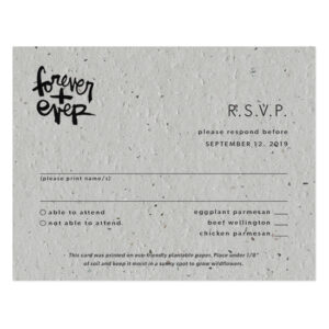 These Brush Script Plantable Reply Cards cards are a beautiful, eco-friendly way to gather your wedding replies.